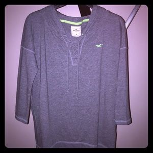 Hollister Lace Up Hoodie Top